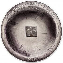 1 Unze Silber 5 $ 2015 Cook Islands - Chondrite Impact – Meteorite NWA 4037 im Etui