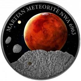 1 Unze Silber  Martian 5 $ 2016 Niue -Meteorite NWA 6963 im Etui