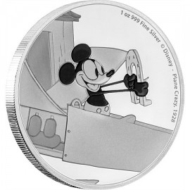 1 Unze Silber Plane Crazy  Mickey Mouse 2016