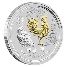 1 oz Lunar 2 Rooster gilded