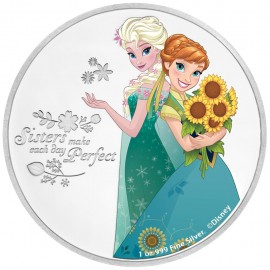 1 Unze Silber Frozen Schwestern Disney Niue