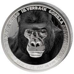 1 Unze Silber  Silberrücken Gorilla Kongo 2016 farbig PP