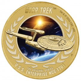 Tuvalu Enterprise Star Trek  1 AUD 50 Jahre mit Briefmarke