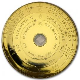 1 oz Gold Armillary Cook Islands 100 $  Valcambi
