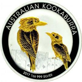 1 Unze Silber Australien Kookaburra 2017 Gilded