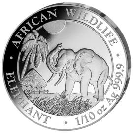 1/10 oz Silver Somalia Elefant 2017