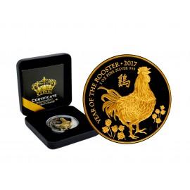 1 Unze Silber Lunar UK 2017  Rooster  Black Empire Gold edition