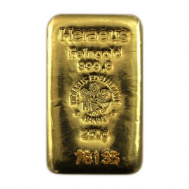250 g Gold bar Heraeus