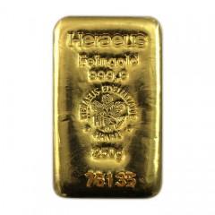 250 g Goldbarren Heraeus gegossen