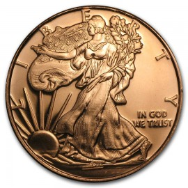 1 Unze Kupfer Walking Liberty Round 999 Copper