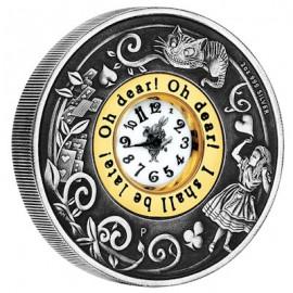 2 Unzen Silber Alice im Wunderland mit Uhr PP