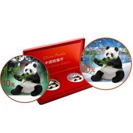 2 x 30 g Silber China Panda 2017 Coloured