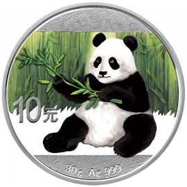 30 Gramm  China Silber Panda 2017 Coloriert