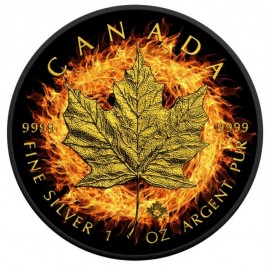 1 Unze Silber Maple Leaf 2016 Burning