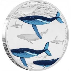 1 Unze oz Silber Buckelwale Große Migrationen Niue Box PP