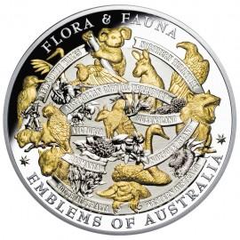 5 Unzen Silber Flora & Fauna Wahrzeichen Australien Gilded Niue