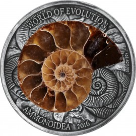 1 Unze oz Silber 1000 Francs 2016 Burkina Faso AMMONITE World of Evolution Antique Finish