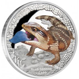 1 oz Silver BLUE TONGUE LIZARD - BLAUZUNGENSKINK - 1 OZ