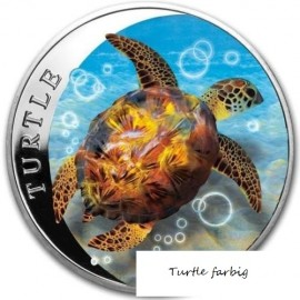 1 Unze Fiji Taku Turtle Farbig coloriert  Niue