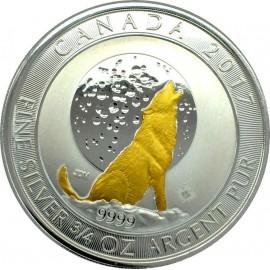 Kanada 3/4 Unze  Silber Heulende  Wölfe 2017 Gilded