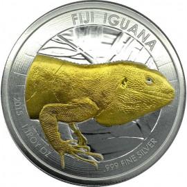 1 Unze Silber Leguan Fiji   2015 Iguana gilded
