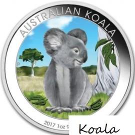 1 Unze Silber Australien Koala 2017 Tag farbig