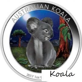 1 Unze Silber Australien Koala2017 Night farbig