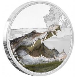 1 Unze oz Silber Könige der Kontinente Süßwasser Krokodil  Niue Box 2017