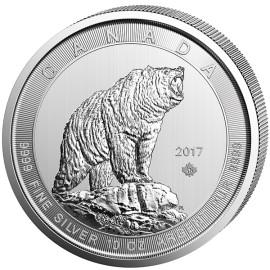 10 Unzen Silber Grizzly Canada 50 CAD 2017