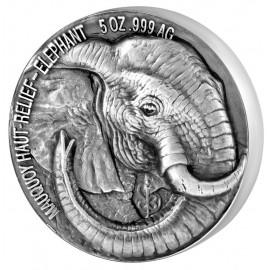 5 Unzen Silber Ivory Coast Big Five elephant Elefant  Mauquoy High Relief 2017