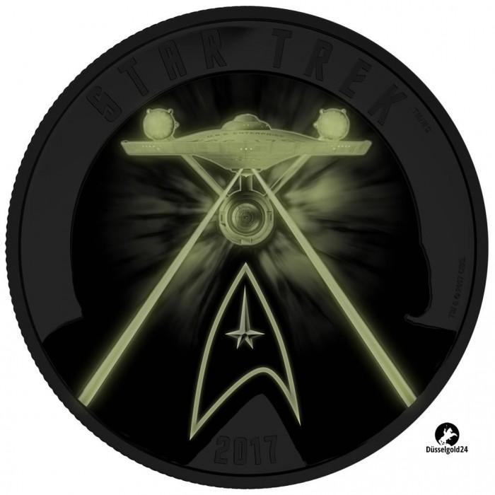 2 Unzen Silber Star Trek Five Captains 2 Oz Münze Leuchtet Im