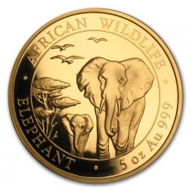 5 oz Gold Somalia Elefant 2015 PP (inkl. Holzbox)