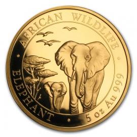 5 Unze Gold Somalia Elefant 2016 PP (inkl. Holzbox)