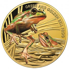 1 oz Gold  Golden Green Bell Frog