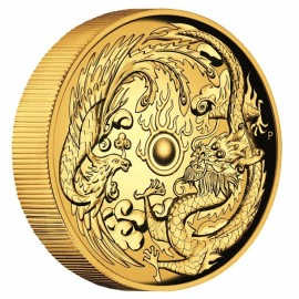 2 oz Unze Gold Drache + Phoenix Perth Mint 2017  PP High Relief