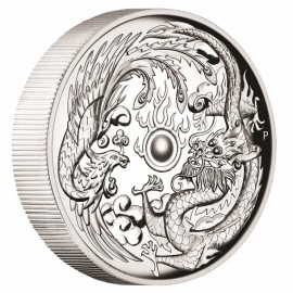 1 Unze Silber Dragon + Phoenix Perth Mint 2017 PP High Relief