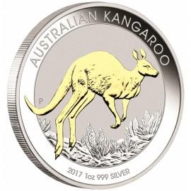 1 Unze Silber Känguru  Nugget 2017 Gilded