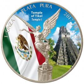 1 Unze Silber Mexiko Libertad 2017 farbig Tempel Tikal