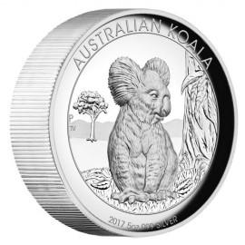 5 Unzen  Silber Australien Koala 2017 High Relief