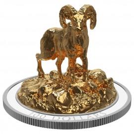 10 Unze Silber Canada Skulptur Bighorn Sheep 2017  3D  VVK