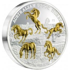 5 Unzen oz Silber Stock Horse 2017 Gilded Perth Mint
