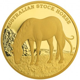 5 oz Unze Gold Stock Horse PP mit Box 2017