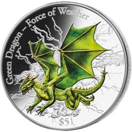 3 oz green dragon  Fiji silver