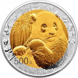30 Gramm Gold + 12 g Silber  35. Jahre Goldpanda Bi-Metall  Jubiläumspanda PP 2017