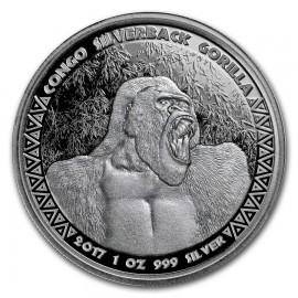 1 oz Silver  silverback Gorilla Kongo 2017