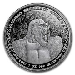 1 Unze Silber  Silberrücken Gorilla Kongo 2017