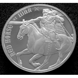 "Silver round Provident FOUR HORSEMEN OF THE APOCALYPSE ""RED HORSE OF WAR 2017"""