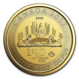 1 oz Canoe Voyageur 150 $2017 Gold  Canada Blister