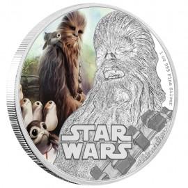 1 Unze oz Silber Last Jedi  Chewbacca Star Wars Niue Box PP