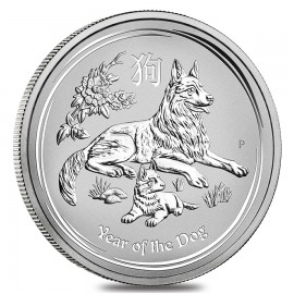 5 Unzen Silber Hund Lunar II 2018